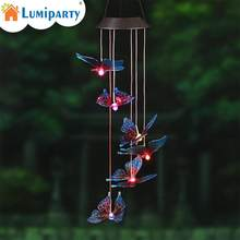 LumiParty Solar Wind Chime LED Colorful Butterfly Light Waterproof Light for Corridors Parks and Hallways Decoration(China)