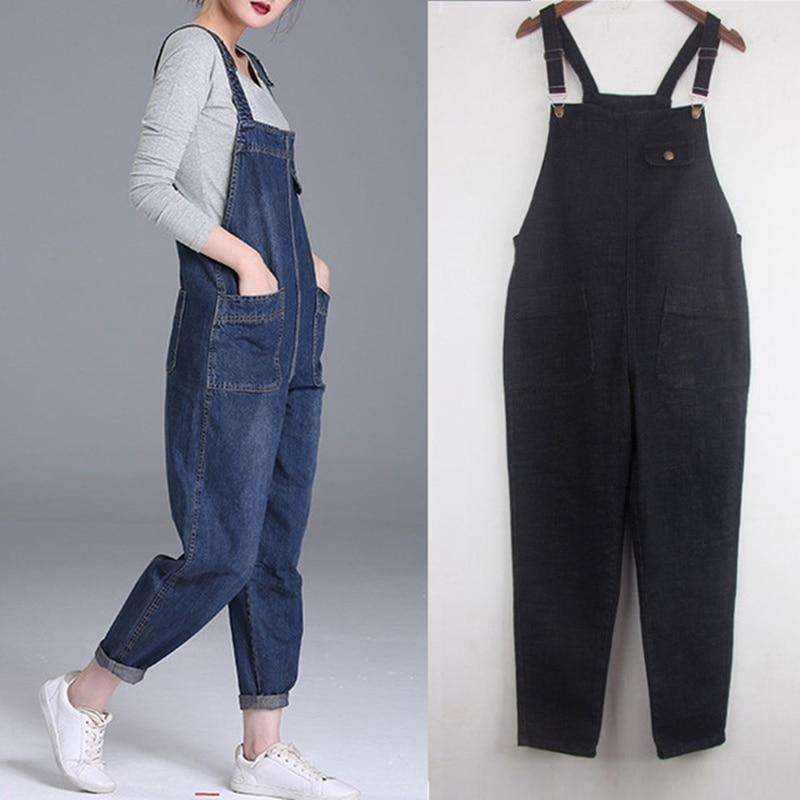 Plus Size 6XL Denim Jumpsuit Loose Boyfriend Jeans For Women Pocket Long Harem Black Jeans Women Overalls Wide Leg Rompers C5217