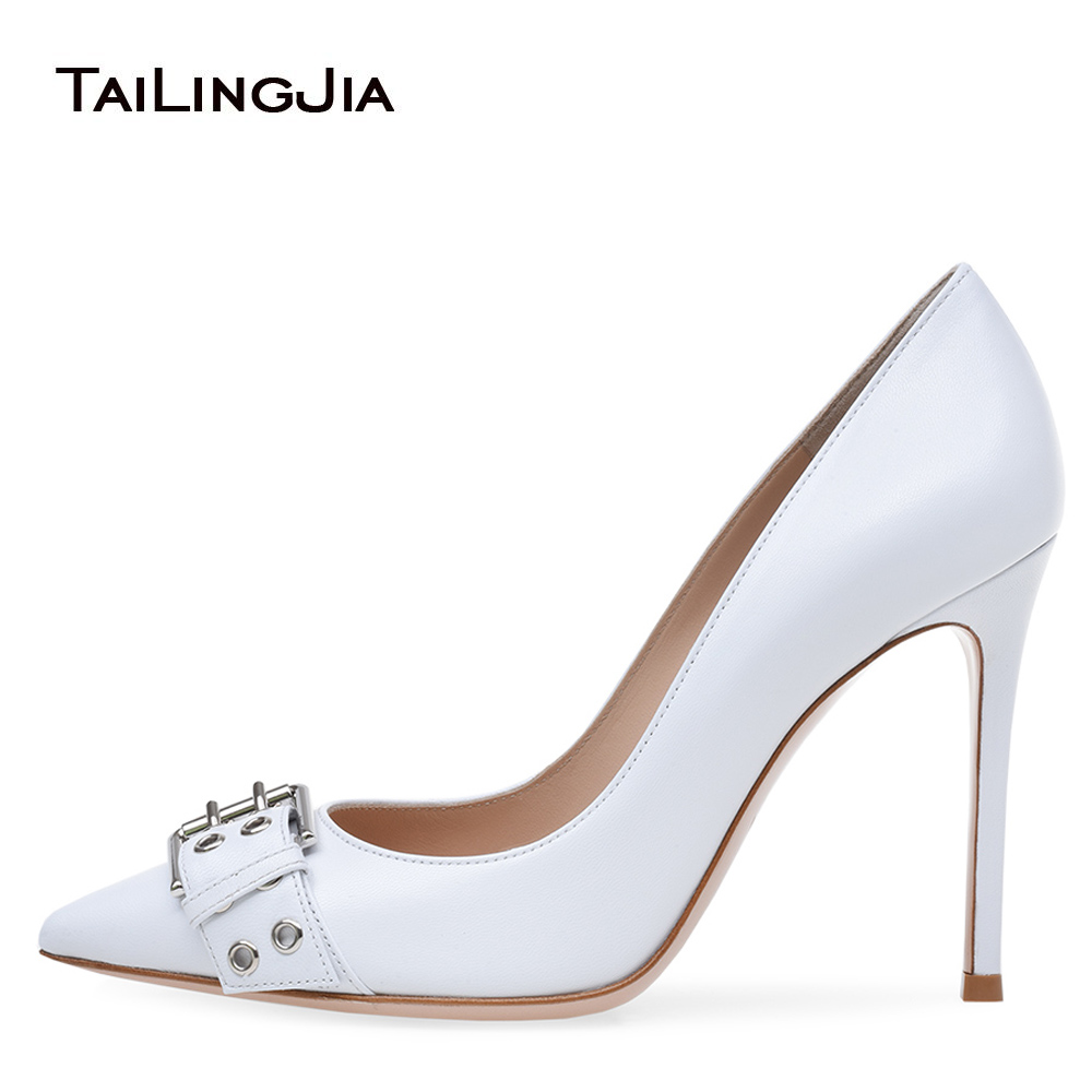 Women White Buckle Basic Pumps Extreme High Heel Pointed Toe Court Shoes Dress Heels Elegant Ladies Stilettos Wedding 2018