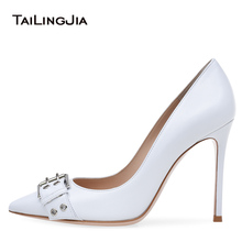 цена Women White Buckle Basic Pumps Extreme High Heel Pointed Toe Court Shoes Dress Heels Elegant Ladies Stilettos Wedding Shoes 2018 онлайн в 2017 году