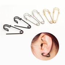 New Hot Sale Vintage PUNK Rock Brief Gold/Silver/Black Small Safety Pins Shape Drop Earring For Women Men Earings Party Trinket