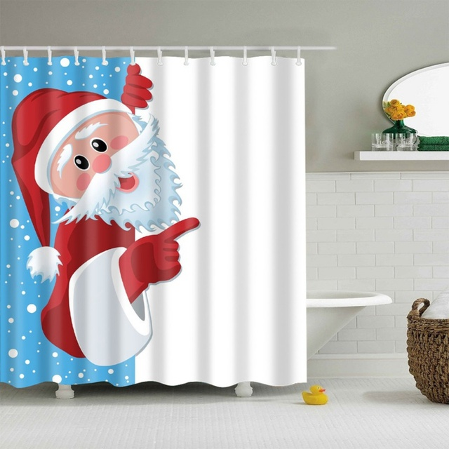 Winter Bathroom Products Christmas Tree Santa Claus Pattern Shower Curtain Waterproof Polyester Fabric