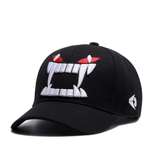 Embroidery monster tooth Baseball Cap Fitted Cap Snapback Hat Gorras Casual  Casquette tooth embroidery black caps c38c3af91b2
