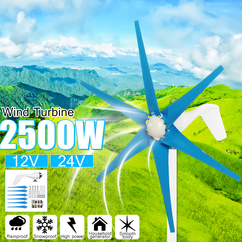 2500 W 12 V/24 V 6 Turbinas Eólicas Lâmina + Controlador de Vento Gerador de Moinho de Vento De Energia Turbinas De Energia de Carga casa Ou Camping