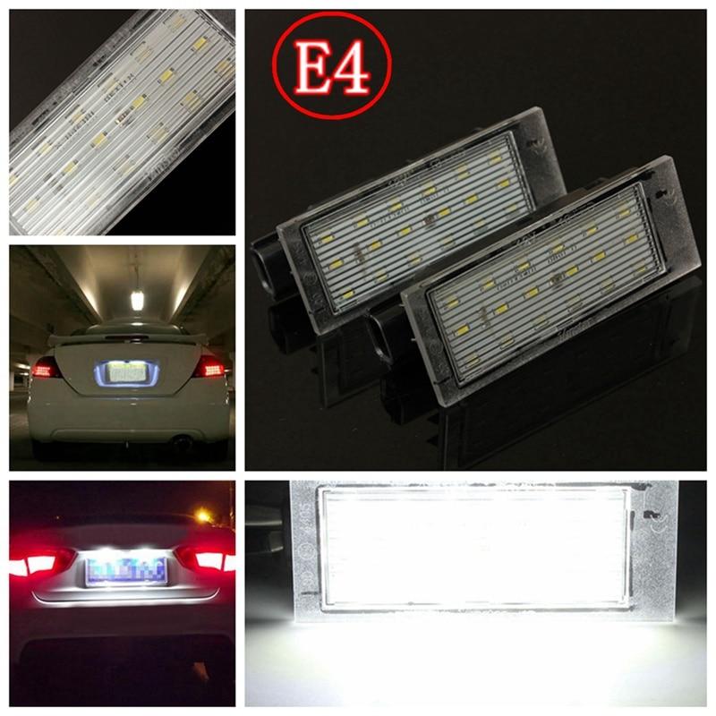 2Pcs 12V White LED Number License Plate Light For Renault/Twingo/Clio/Megane/Lagane Error Free 2 pcs car led number license plate light smd3528 for renault megane 2 clio laguna 2 megane 3 twingo master vel satis