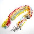 Católica del collar del rosario forma de la sandía beads silver plated puntadas