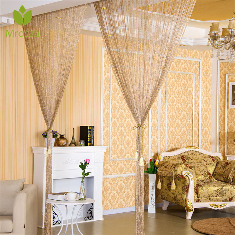 100x200cm Shiny Tassel Flash Silver Line String Curtain Window Door Divider Sheer Curtain Valance Door Treatment Home Decoration(China)