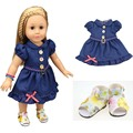 1PCS Dress+1Pair Shoes 18Inch American Doll Clothes And Accessories