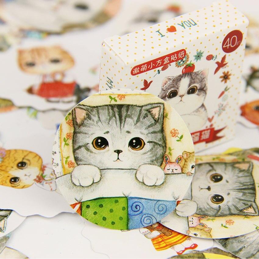 120PCS/lot Kawaii Mini Fat Cat Paper Sticker Set DIY Decoration Diary Scrapbooking Seal Sticker Office Stationery Supplie