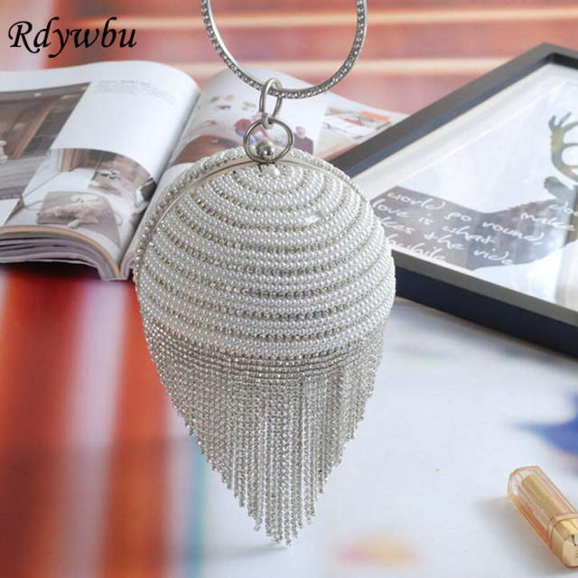 Online Shop Rdywbu Best Price Diamond Tassel Pearl Beaded Clutch Bags Women  Handbag Luxury Full Pearl Wedding Party Bags CrossBody Purse H01  21c6490504e1