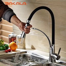 BAKALA Black and Chrome Finish Kitchen Sink Faucet Deck Mount Pull Out Dual Sprayer Nozzle Hot Cold Mixer Water Taps BR-9205