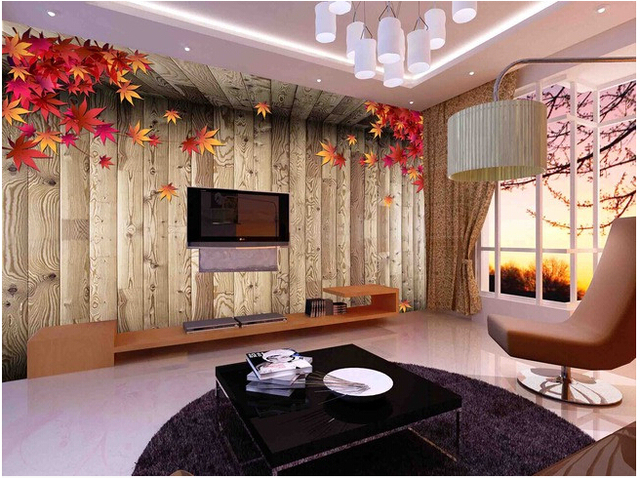 Custom Vintage Wood Wallpaper, Maple Leaf And Wood For The Living Room  Bedroom TV Background