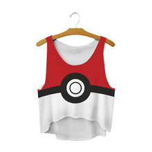 Cartoon Poke Ball Cropped Tops Tees Game Pokemon Go Casual Beach T Shirt White Sleeveless Scoop Neck Cami Ladies Red Short Vest