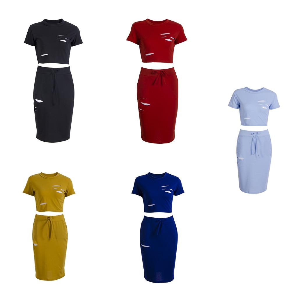 Sexy Women Short Sleeve Crop Tops T-shirts Bodycon High Waist Pencil Skirts Ripped 2pcs Sets Fashion Women Sets Plus Size