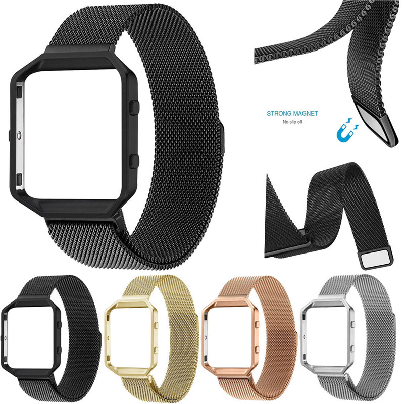 Milanese Clasp Magnetic Loop Watch Band For Fitbit Blaze Watch Bands Stainless Steel Bracelet Replacement Strap With Metal Frame carlywet 23mm black 316l stainless steel replacement watch strap belt bracelet with case metal frame for fitbit blaze 23 watch