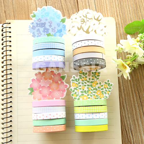 5pcs/lot Kawaii colorful paper tapes 7mm Dot series masking tape School stationery sticker Office notebook supplies (ss-1434) kicute 70sheets pack self adhesive blank label paper price sticker stationery mark sticker for office stores libraries supplies
