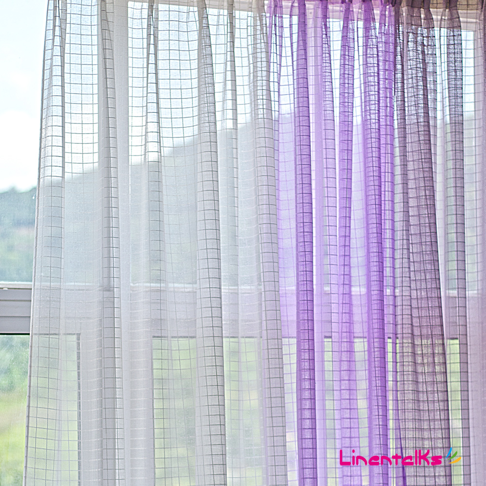 140 250cm Square Imitation Linen Sheer Curtains White Purple Voile Curtains For Living Room