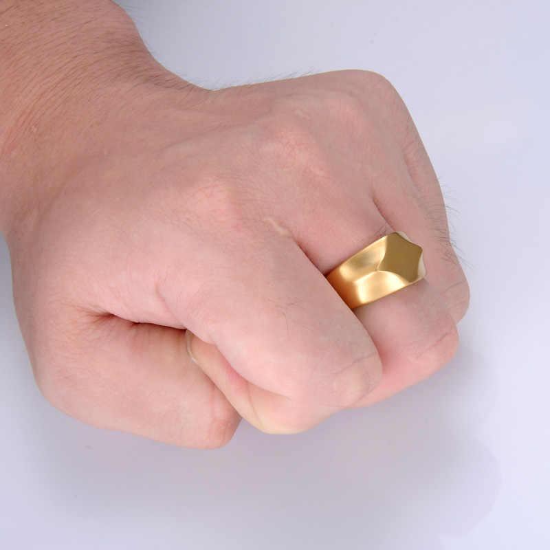 HIP Gold สีไทเทเนียมสแตนเลส Charm Geometric Square Finger แหวนผู้ชายเครื่องประดับ
