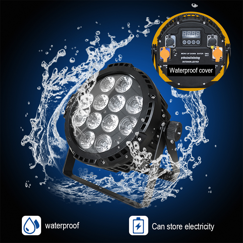 IMRELAX Wireless Battery Waterproof 12 18w RGBWA UV 6in1 LED Par Can Light Silence Outdoor Stage
