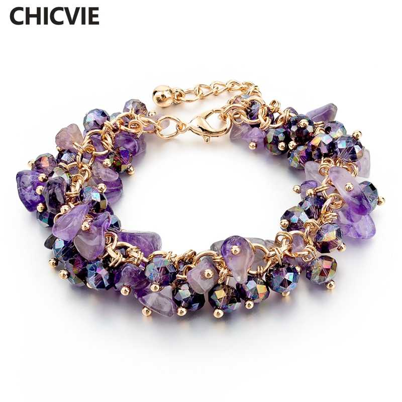 CHICVIE Charm Bracelets & Bangles with Stones Gold color Bracelet Femme for Women Jewelry personalized Purple Bracelet SBR140192
