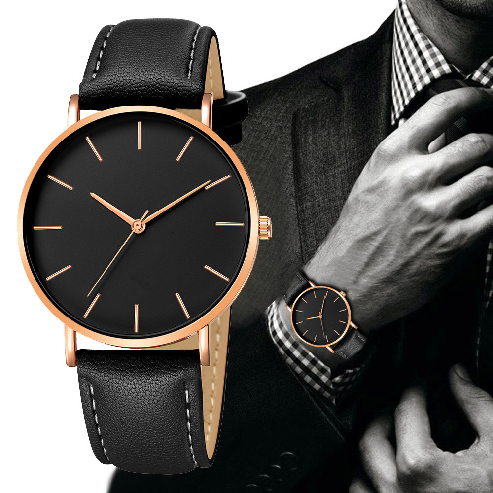 Geneva Mens Watch Ultra-thin Men Simple Alloy Case Synthetic Leather Analog Quartz Sport Business Watch Relogio Masculino
