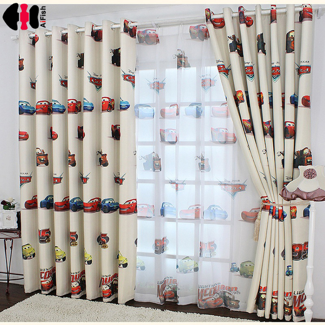 Boys Cars Curtains And Tulle Blackout D Cloth Nursery Baby Room Draperie French Blinds For