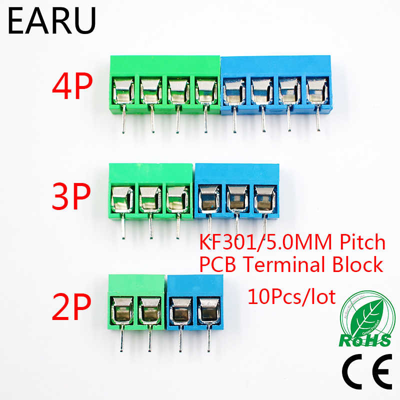10 Pcs/lot KF301-5.0-2P KF301-4P KF301-3P Pitch 5.0mm Lurus Pin 2 P 3 P 4 P Screw PCB Terminal Blok konektor Biru Hijau
