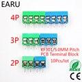 10 шт./лот KF301-5.0-2P KF301-3P шаг 5 0 мм прямой контакт 2P 3P 4P винт PCB клеммный блок разъем синий зеленый