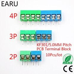 10 шт./лот KF301-5.0-2P KF301-3P шаг 5,0 мм прямой контакт 2P 3P 4P винт PCB клеммный блок разъем синий зеленый