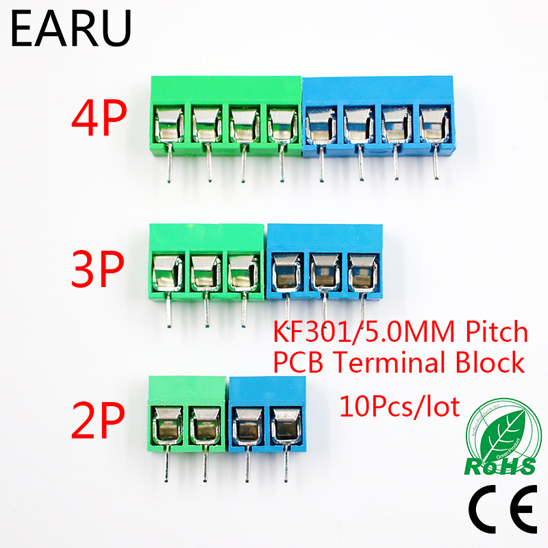 10Pcs/lot KF301-5.0-2P KF301-3P KF301-4P Pitch 5.0mm Straight Pin 2P 3P 4P Screw PCB Terminal Block Connector Blue Green ...