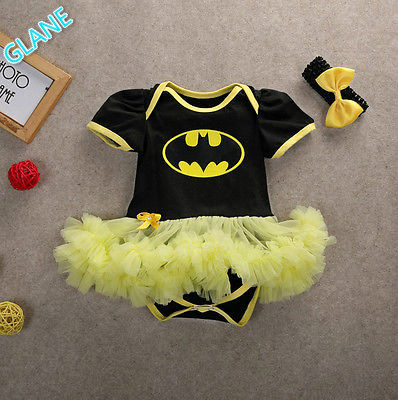 2016 Headband Baby Girls Toddler Summer Outfits Batman   Romper   Playsuit Costume 0-12M Childish Coveralls   Rompers   for Newborns