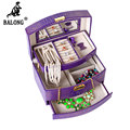 Multilayer Crocodile Grain Jewelry Organizer Box Fashion Earrings Rings Bracelet Storage Box Jewellery Display Container