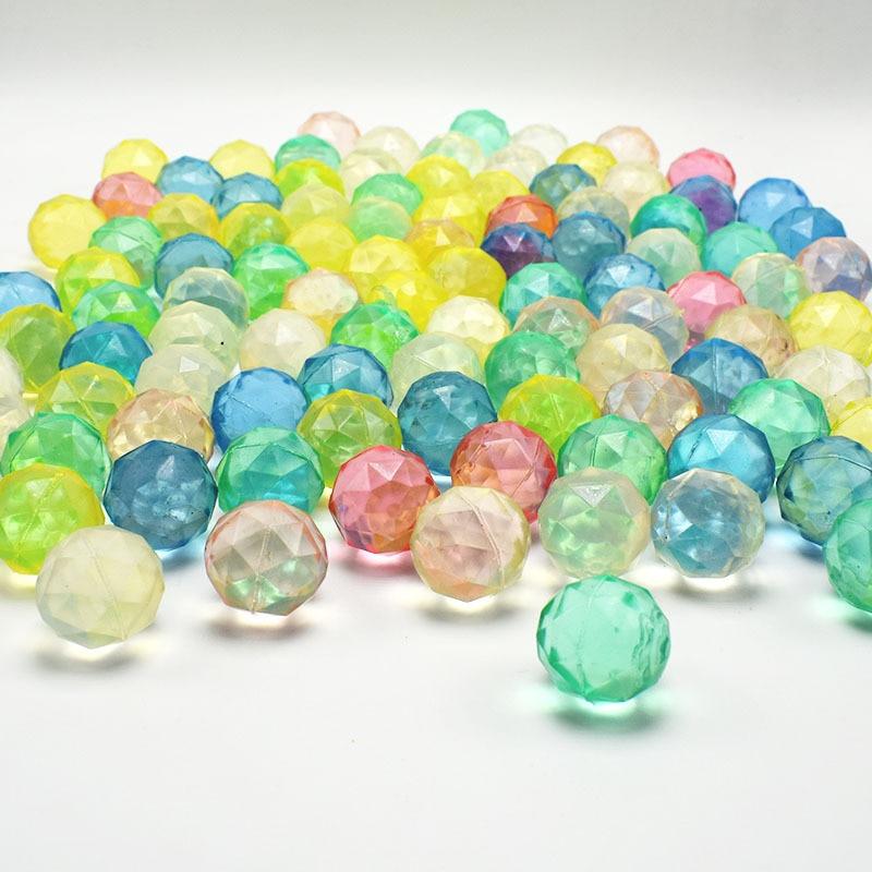 30mm Bouncy Ball Stone Design Diamond Cut Elastic Rubber Bouncing Balls 10pcs/lot Mix Colors Gashapon Machine Toy Ball for Kids