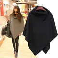 Woman casual open collar loose cloak personality irregular cape coat solidcolor high quality autumn and winter warm jacket shawl