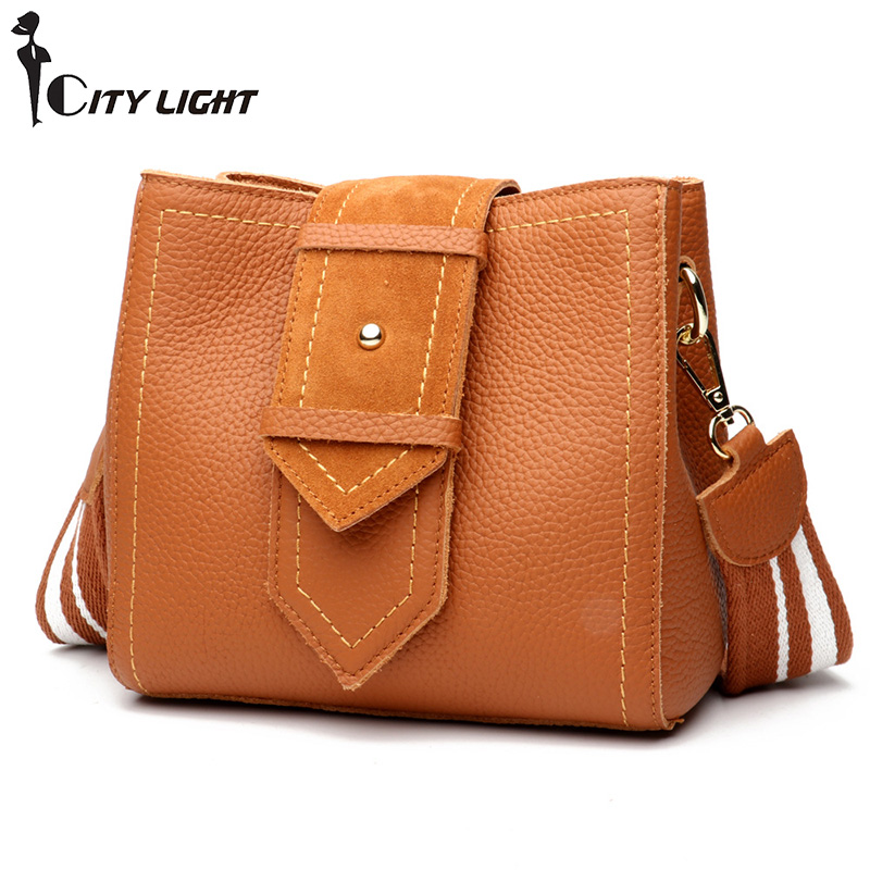 New Genuine Leather Handbags Women Bags Designer Women Messenger crossbody bags for women 2018 Bucket Bag
