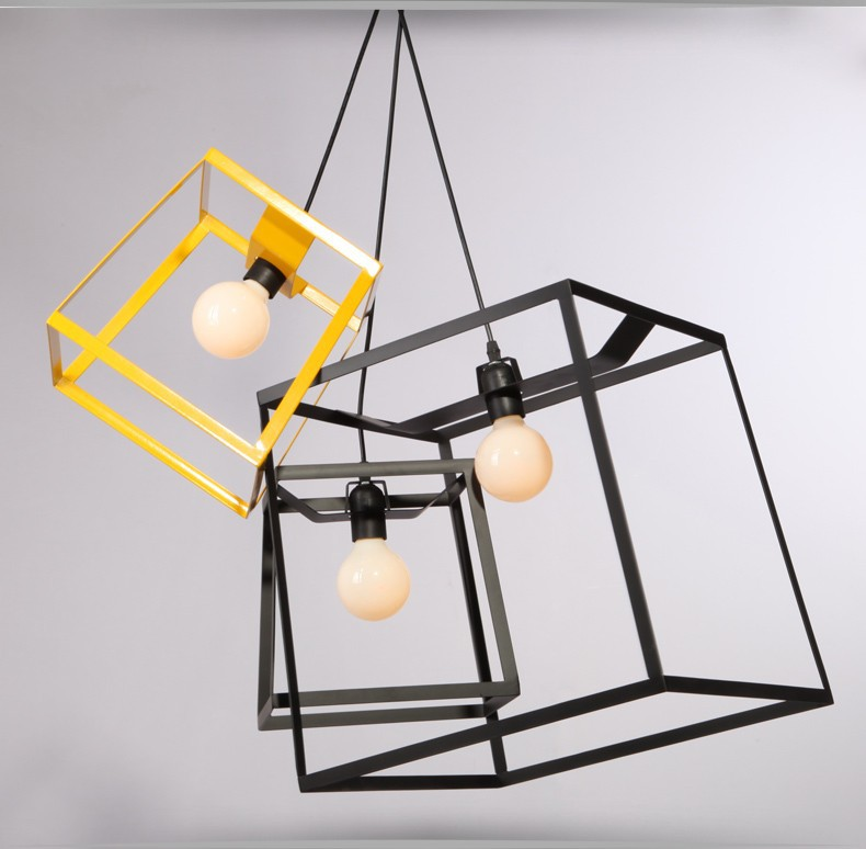 Modern Minimalist Cube Box Frame Pendant Light Geometric Simple Bar Counter Kitchen Ceiling Lamp Fixture In Lights From Lighting On
