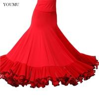 Women Modern Social Dance Skirt Floor Length High Waist Black Red Vintage Fashion Perform Show Skirts Hemlinen 803 268