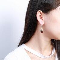 JIUDUO Jewelry Genuine Luxury Handmade Design Earrings Yellow Amber Retro Ladies Elegant Sterling Silver Earrings Female
