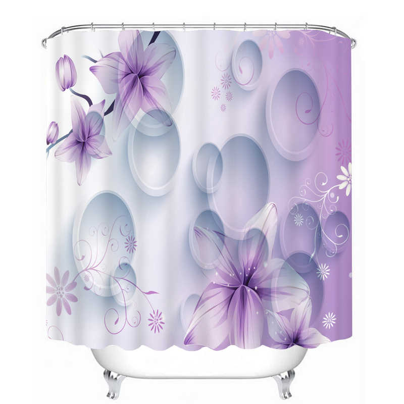 دش ستائر 3d دائرة الأرجواني زهور و فراشة نمط ستائر الحمام للماء رشاقته حمام الستار تخصيص