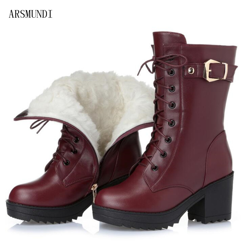 ARSMUNDI High-heeled genuine leather women winter boots, thick wool warm women Martin boots, high-quality female snow boots L504 elixa e123 l504