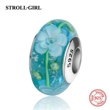 New arrival sparkling Murano glass beads 925 silver diy charms with blue flower fit original Pandora bracelet jewelry gift цена