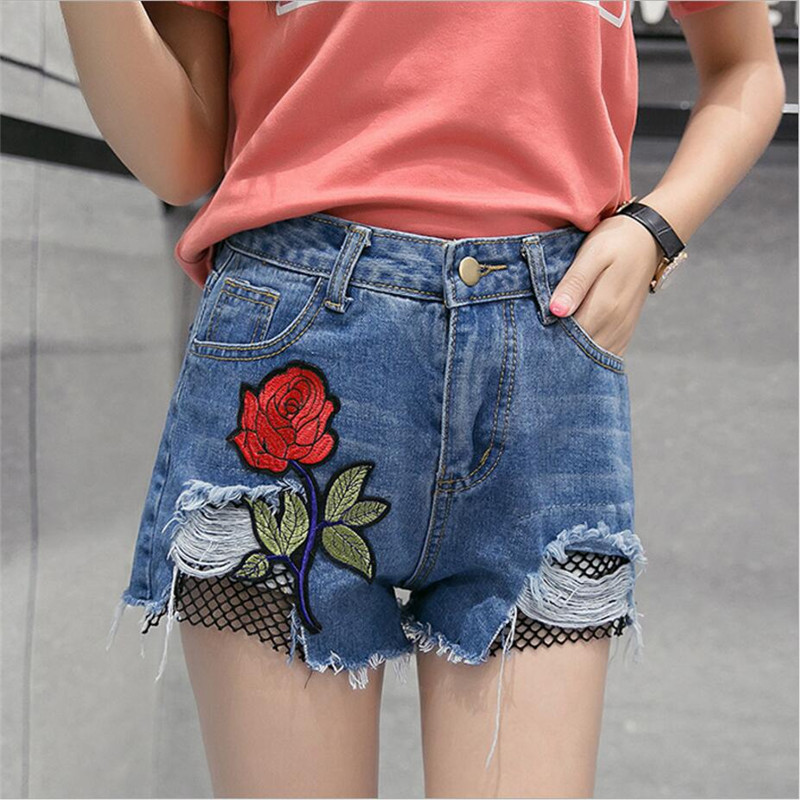 2017 summer plus size fashion Women s sexy shorts rose embroidery Holes patchwork mesh high waist