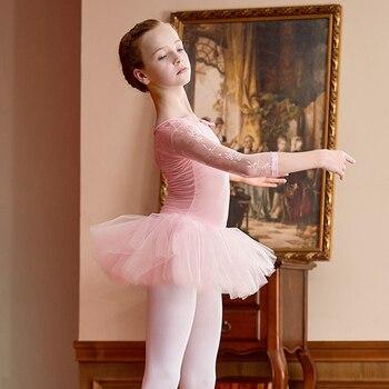 girls ballet dress ballerina lace leotard long sleeve dance platter tutu costume