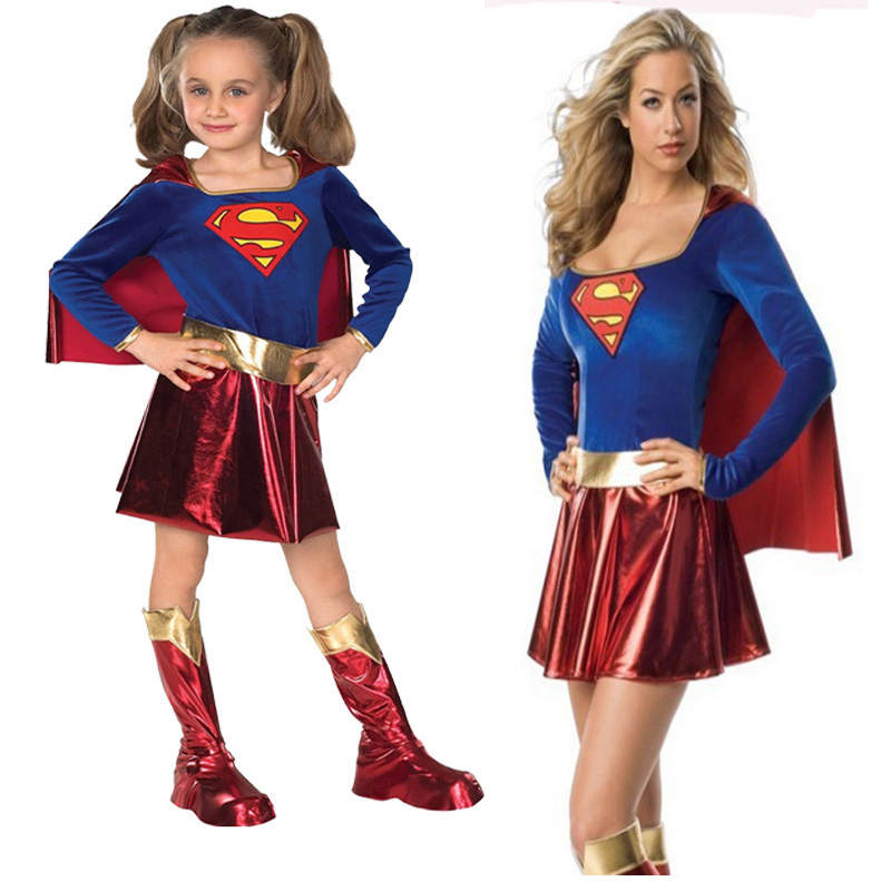 Free Shipping Parent Child Dress Super Hero Super Girls Superman Cosplay Costume Adult kids costume for Halloween Chilren's Day