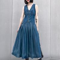 big Swing jeans dress summer vintage New Denim Women Dresses V Neck Sleeveless single breasted A line