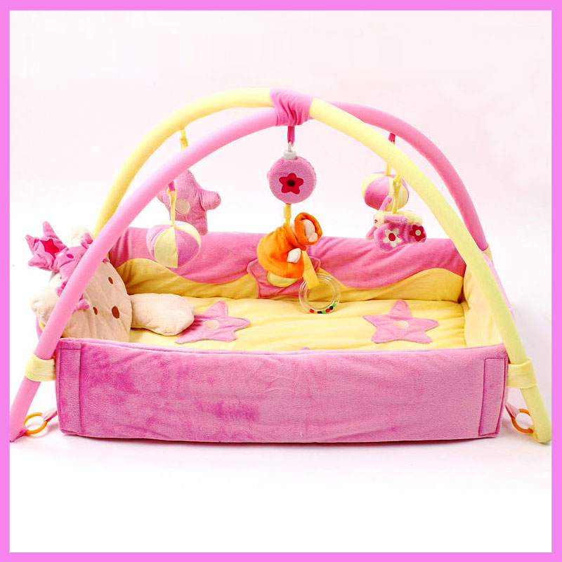 Baby Game Blanket Pink Princess Baby Gym Activity Playmat Playpens Stuffed Toys Bundle Crawling Carpet Baby Cot Crib Bumpers nylon headband women baby girl 12cm big glitter hair bow kids hairband for children hair accessories toddler headwear