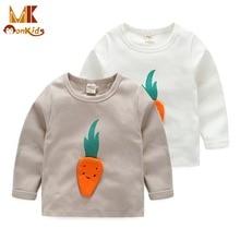 Monkids Bebê Meninos T-Shirt Cenoura Pequena T-shirt Do Bebê Roupa Do Bebê T-Shirt de Algodão Punho Macio T-Shirt Roupas Para Crianças