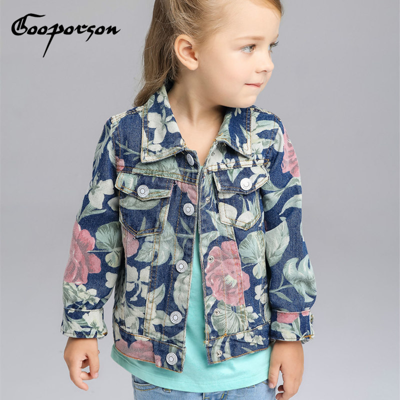 Girls Jeans Jacket Long Sleeve Flower Denim Coat Kids Jackets Spring Outerwear 3-8y Baby Girl New Brand Children Coats Tops 2 14y children clothing spring 2018 big girl denim jackets children jeans coats kids coats for girls outerwear kids clothes tops