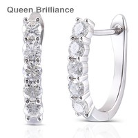 Queen Brilliance 1.6ctw 3.5mm GH Color Lab Grown Moissanite Diamond Earrings For Women Platinum Plated 925 Sterling Silver