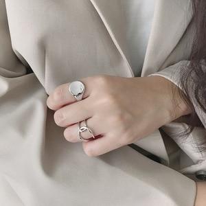 Image 3 - Silvology 925 ayar gümüş parlak içbükey yüzey yüzük yuvarlak yüksek kaliteli gelişmiş Model yüzükler kadınlar için yeni ofis takı